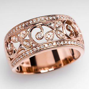 Wide Band Genuine Diamond Ring Fl Motif Solid 14k Rose Gold Estate Jewelry