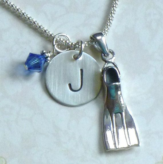 Scuba Fin Sterling Silver Initial Charm Necklace by DolphinMoonCreations, $37.00