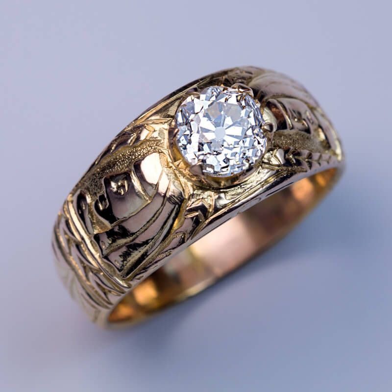 Unusual Antique Diamond Chased Gold Men s Ring Antique Jewelry