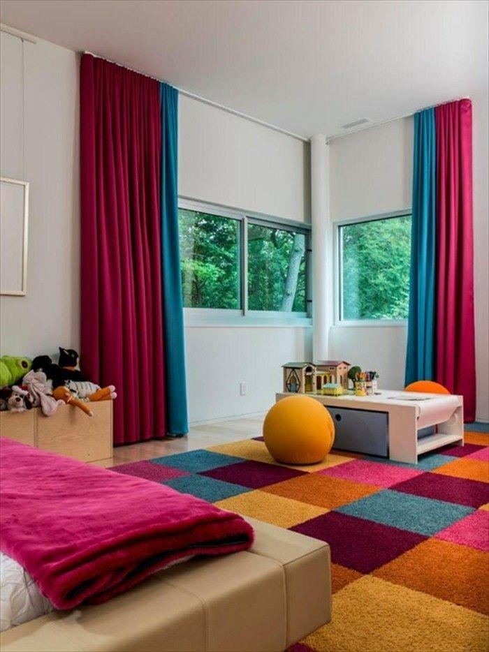 wohnideen schlafzimmer kinderzimmer mit vorhängen in krassen farben