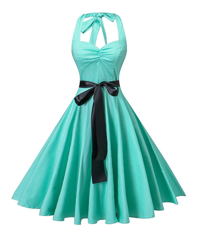 V fashion Women\'s Vintage 1950s Halter Neck Polka Dot Audrey Hepburn ...