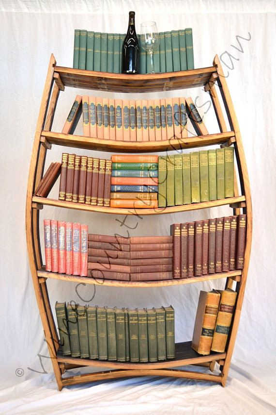 Xlarge Wine Barrel Bookcase 100 Recycled By Winecountrycraftsman