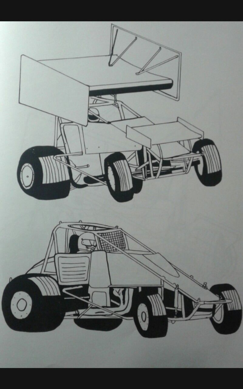 Sprint Cars Art Drawing Sprintcars Autoracing Photocopy Kidscoloring Kids Wings Dirttrack Wingless Ovaltrack Sprint Cars Race Cars Coloring For Kids [ 1280 x 800 Pixel ]