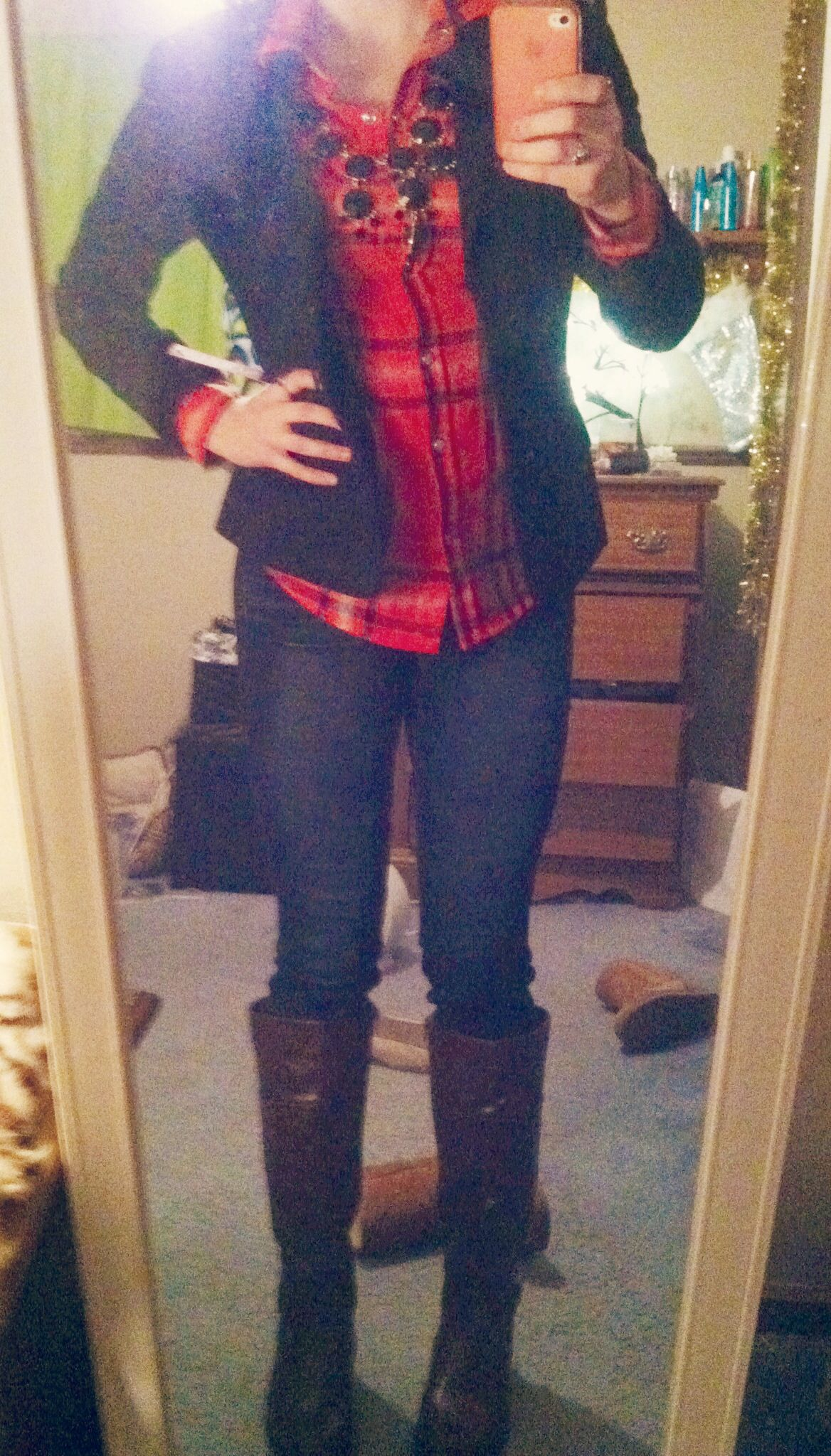 Cute winter outfit: a flannel, with a blazer, brown riding ...