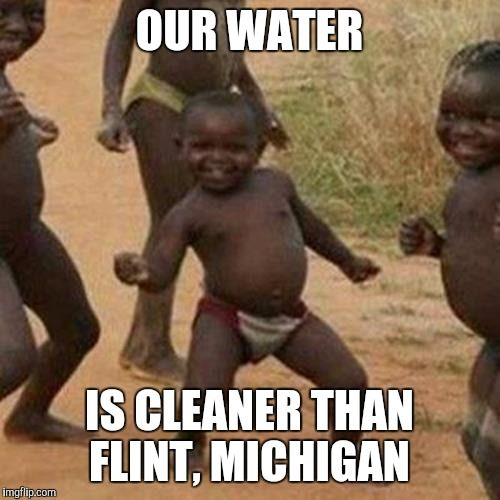 fbc76f5461f8bf221b4b6d28a463e2f4 third world success kid our water is cleaner than flint,Michigan Memes