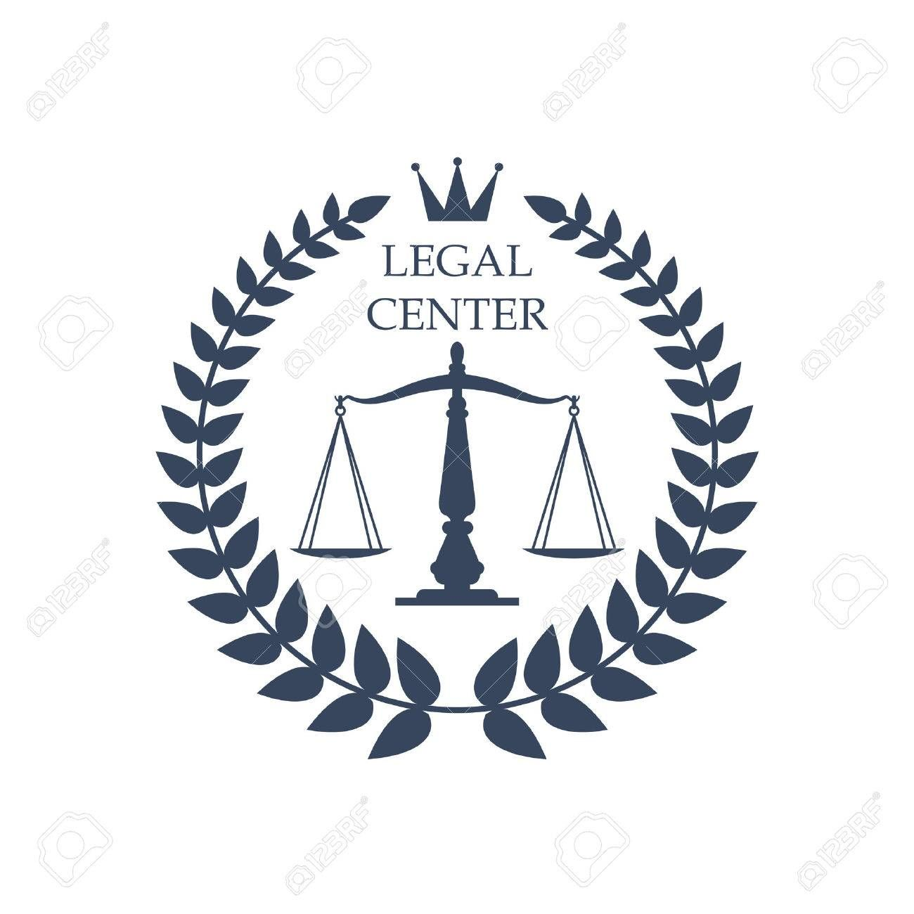 Juridical Or Legal Advocacy Center Icon With Scales Of Justice Symbol Heraldic Laurel Wreath And Crown Vector Badge Or Symbols Justice Symbol Art Inspiration