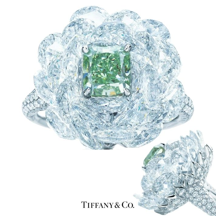 Tiffany & Co. Ring. A Rare Green Diamond Emerges From
