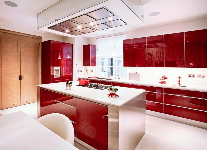 Kitchen Home Furniture Of High Gloss Red Cabinet Options Is Creative Ideas  For Modern Kitchen Published In Kitchen Picture Inspiration Furniture  Cabinets ...