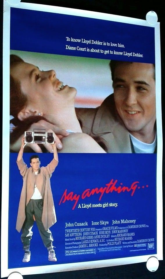 SAY ANYTHING 1989 Movie Poster 27x41 FREE SHIPPING!!! #CameronCrowe #MoviePoster