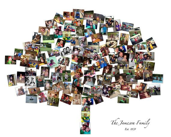 Family Tree Custom Canvas Mosaic Collage Picture Gift Wedding Or