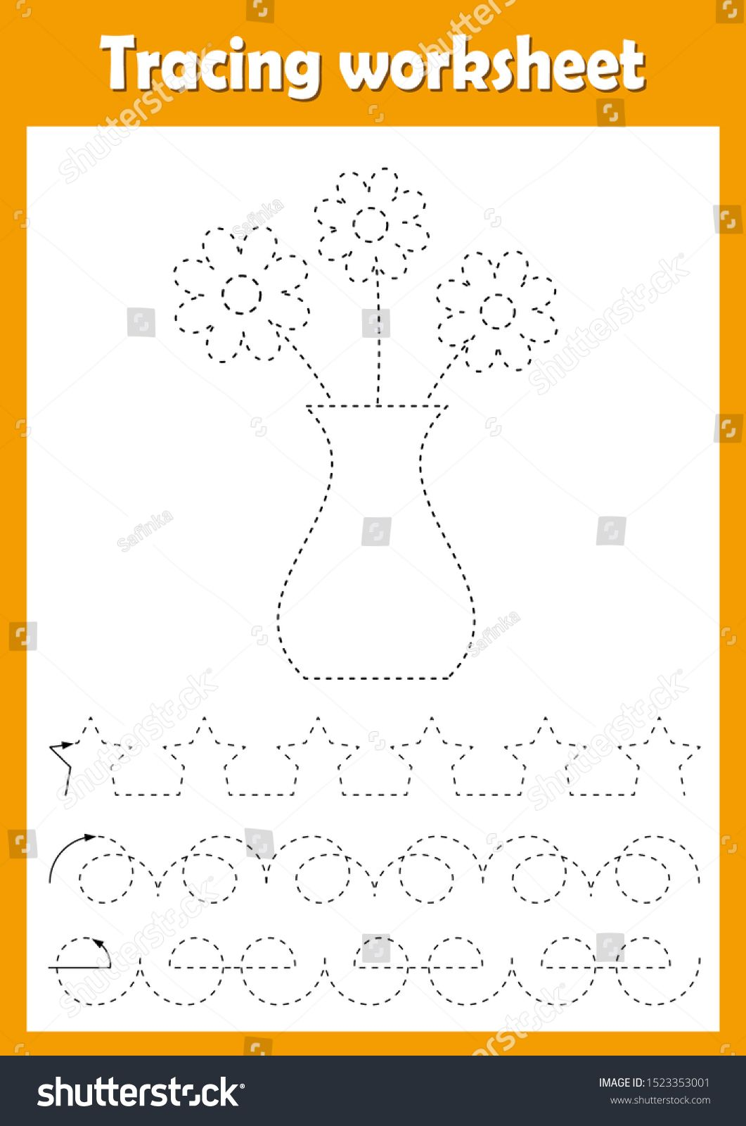 Preschool Or Kindergarten Tracing Worksheet With Dashed