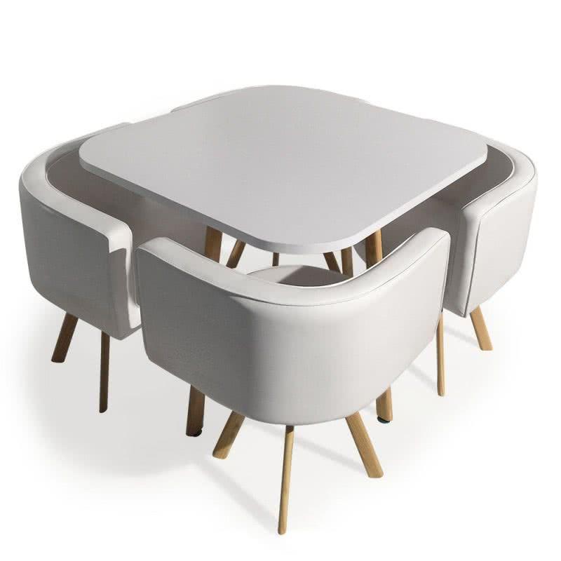 Mesa con 4 sillas nórdicas Oslo 90, roble y blanco | taules ...