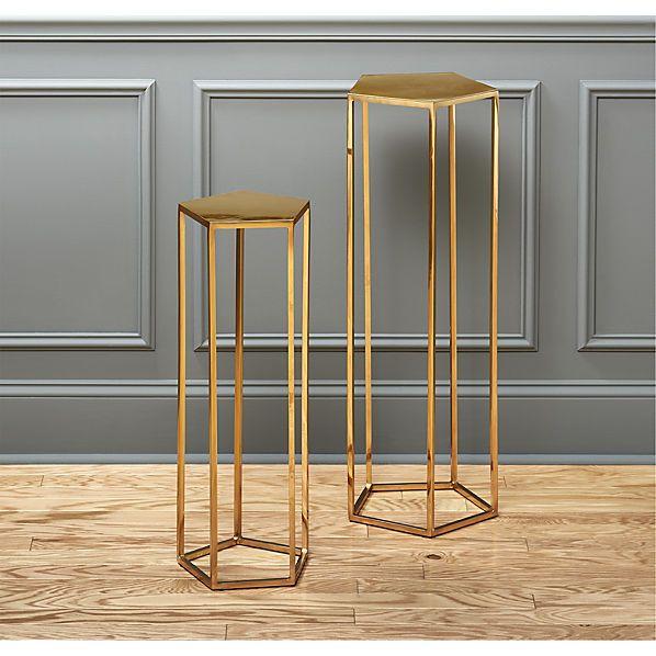 Cb2 Darbuka Brass Coffee Table: Polygon Pedestal Tables