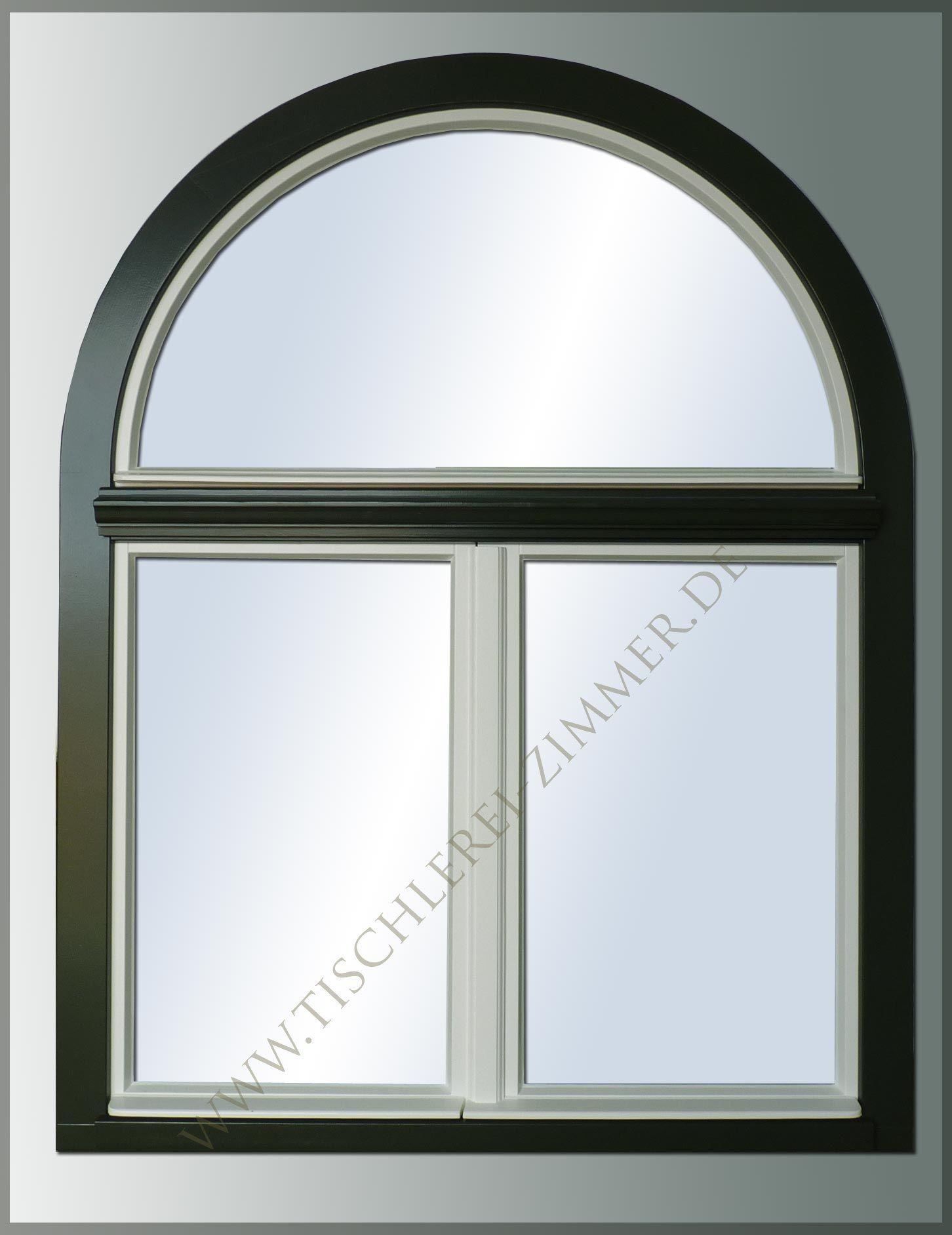 Ein Bogenfenster Mit 2farbiger Ausführung Die Flügel In Weiß Und Der Rahmen  In .