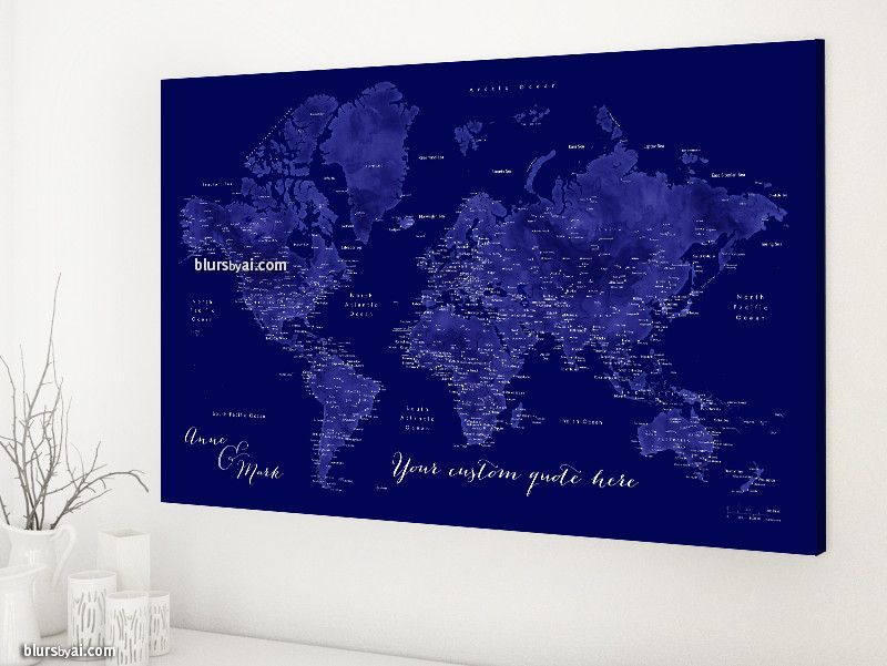 Custom quote world map canvas print world map with cities in navy custom quote world map canvas print world map with cities in navy blue color gumiabroncs Image collections