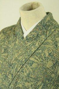 Moss green komon kimono / 杢生壁色地 抽象花柄 小紋   #Kimono #Japan http://global.rakuten.com/en/store/aiyama/