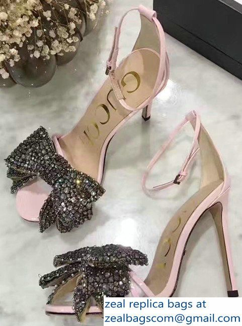 c18de186a0a Gucci Heel 10.5cm Patent Leather Sandals With Removable Crystal Bow 480458  Pink 2017