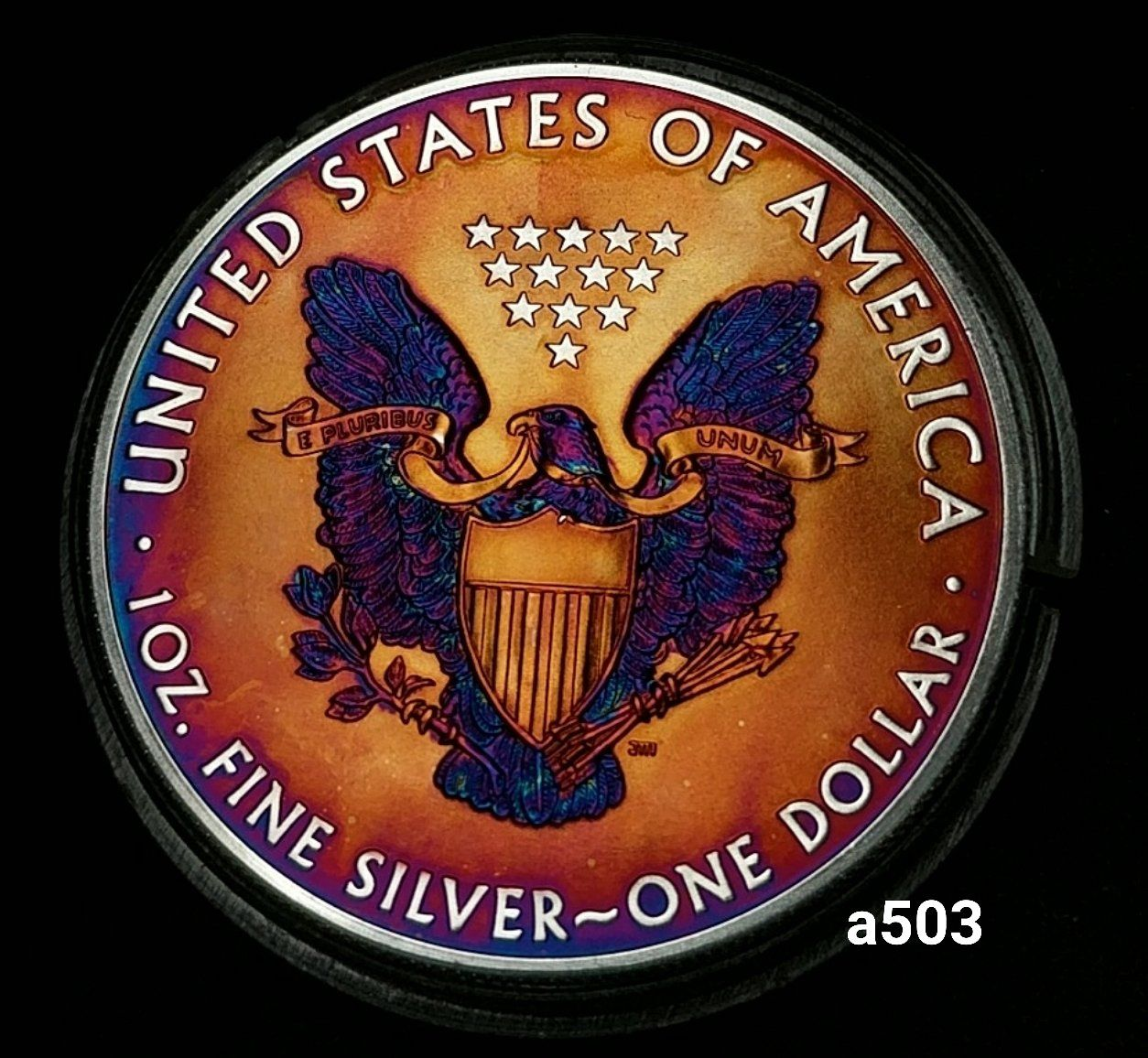 2015 Rainbow Monster Toned Silver American Eagle 1 Troy Ounce Silver Coin A503 Monety