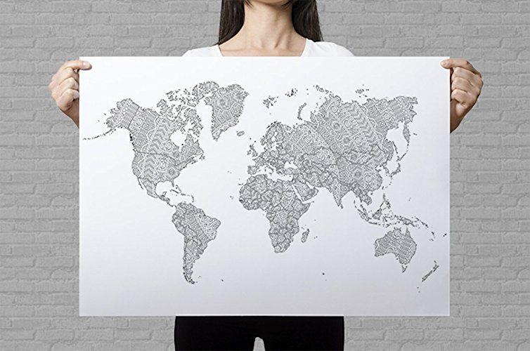 Weltkarte Zum Ausmalen Mit Mandala Mustern Mandala Weltkarte