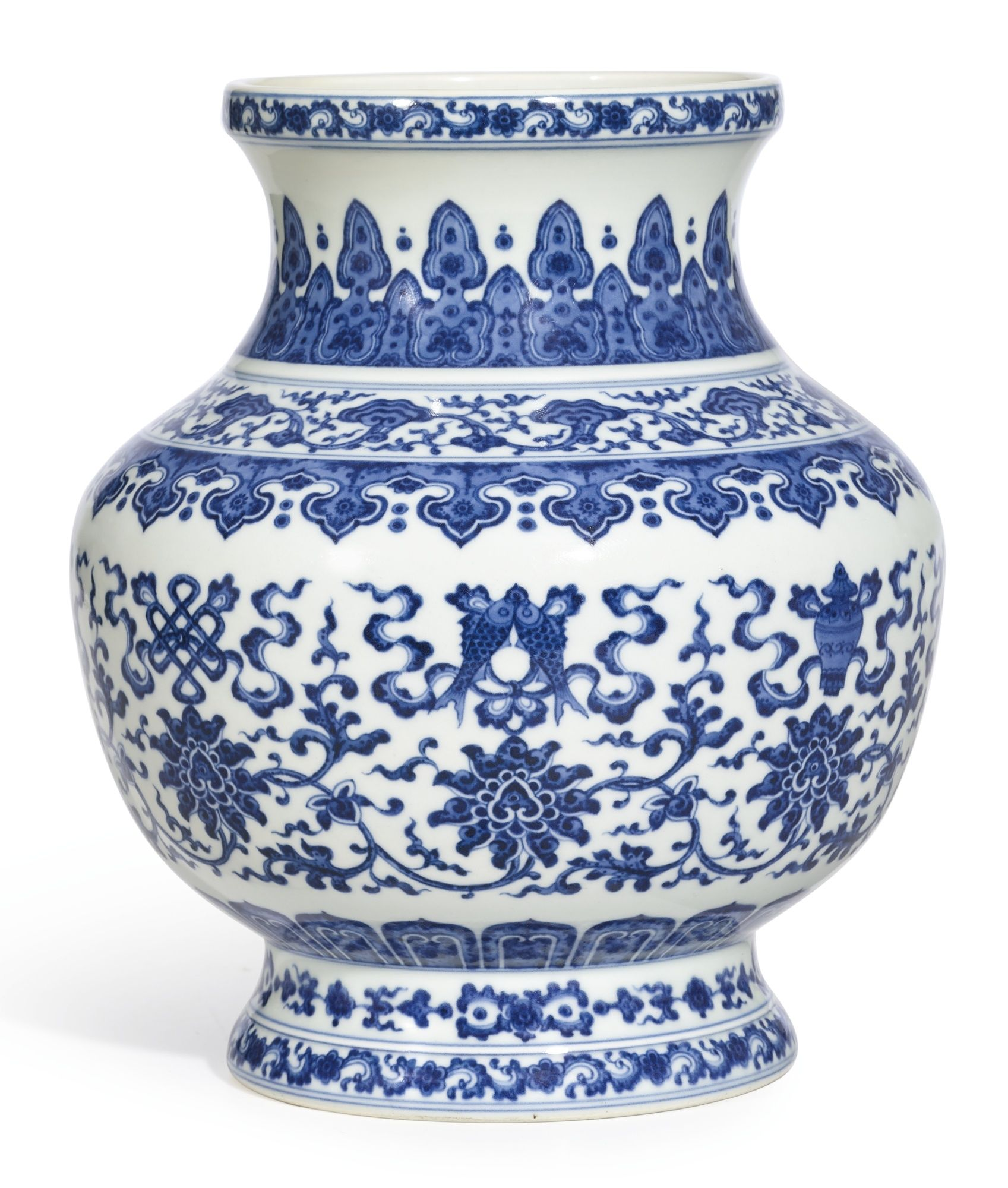 A blue and white vase yuhuchunping qianlong seal mark and period a blue and white bajixiang vase zun seal mark and period of qianlong alain reviewsmspy