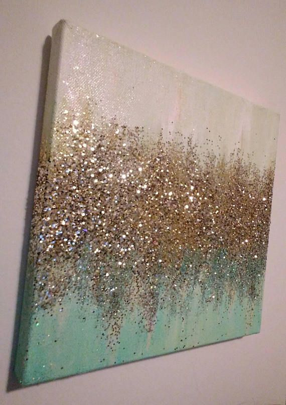 Handmade Abstract Glitter Painting Custom Modern Chic Home