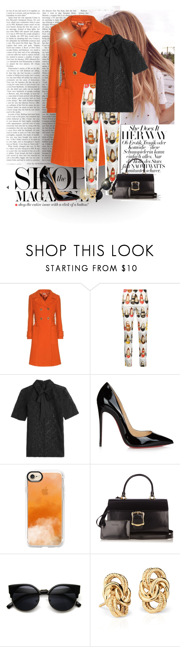 """""""Untitled #2493"""" by swc0509 ❤ liked on Polyvore featuring Miu Miu, Moschino, The Kooples, Christian Louboutin, Casetify, Simone Rocha and Blue Nile"""