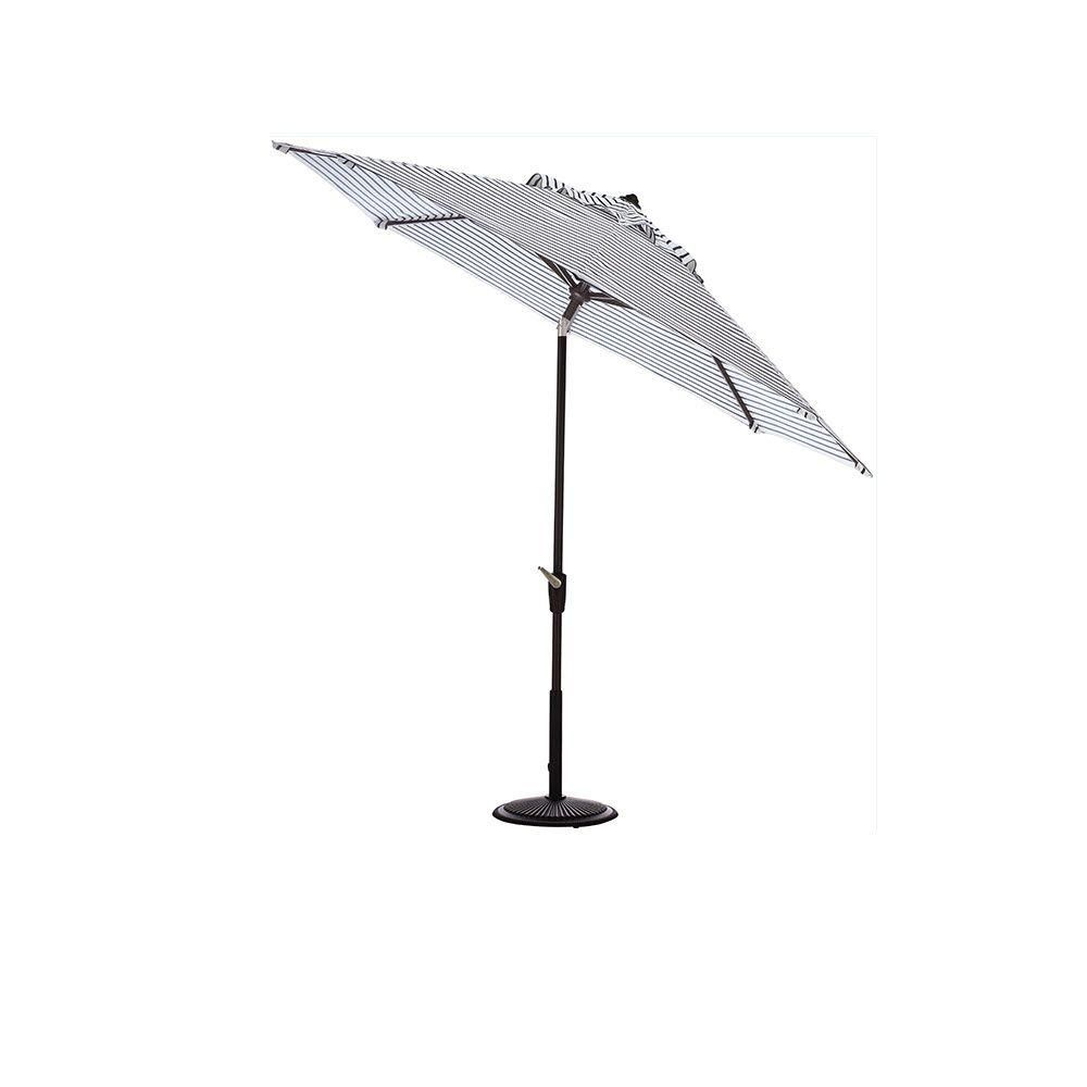 Home Decorators Collection 7.5 ft. Auto-Tilt Patio Umbrella in Lido Indigo Sunbrella with Black Frame
