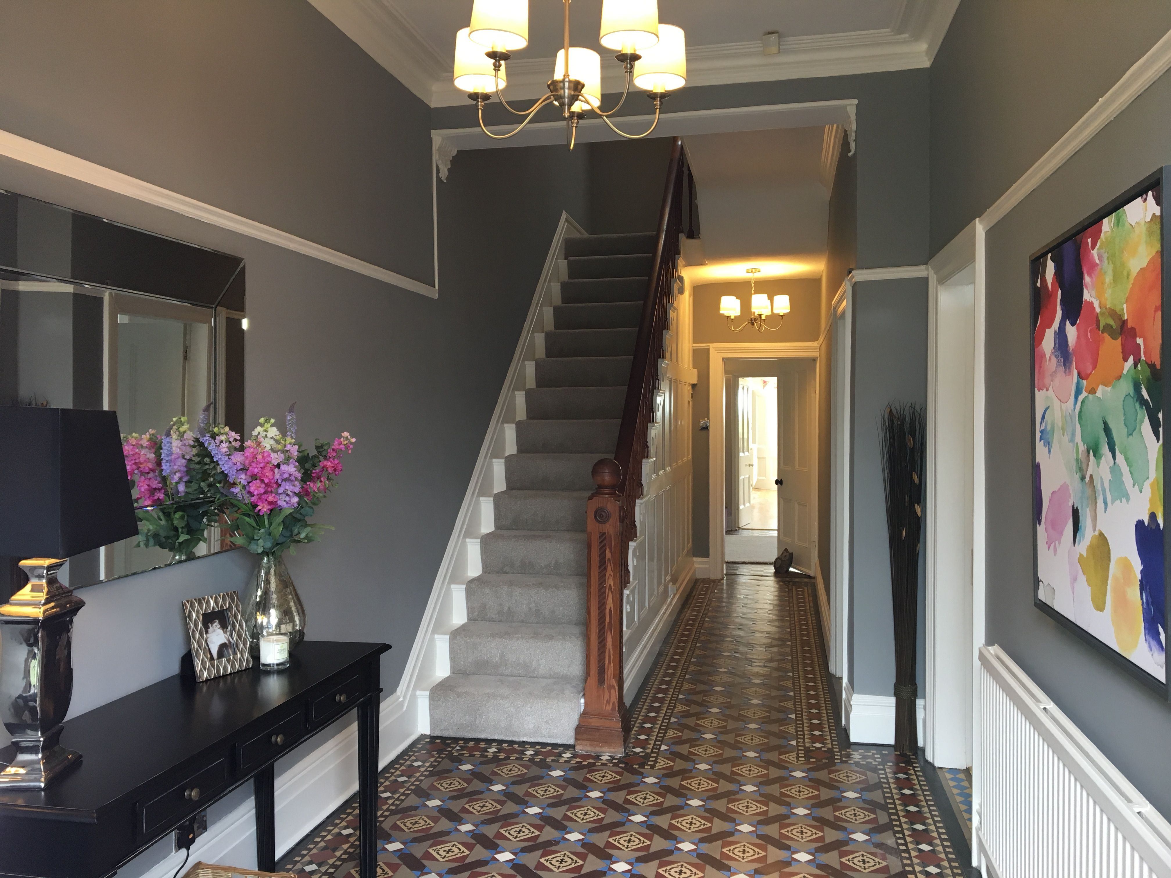 Best Hall In Farrow Ball Manor House Grey London Townhouse 640 x 480