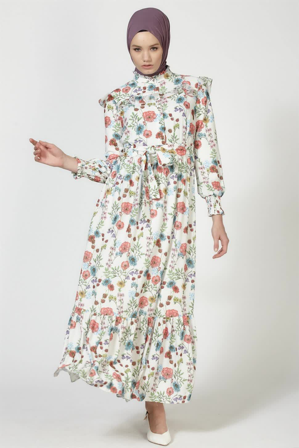 Armine Cicek Desenli Elbise Ekru Armine Elbise Modelleri 2020 Elbise Moda Stilleri Elbise Modelleri
