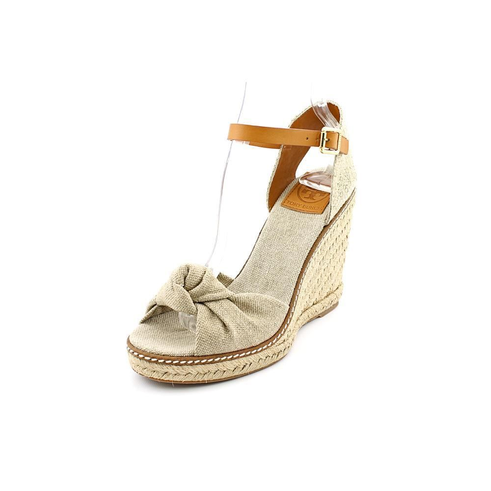 My fav wedges Tory Burch Macy Womens Size 6.5 Nude Open Toe Textile  Espadrilles Shoes #