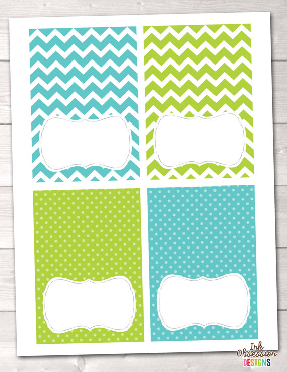 Instant Download Buffet Card Party Labels Blue  Green Chevron