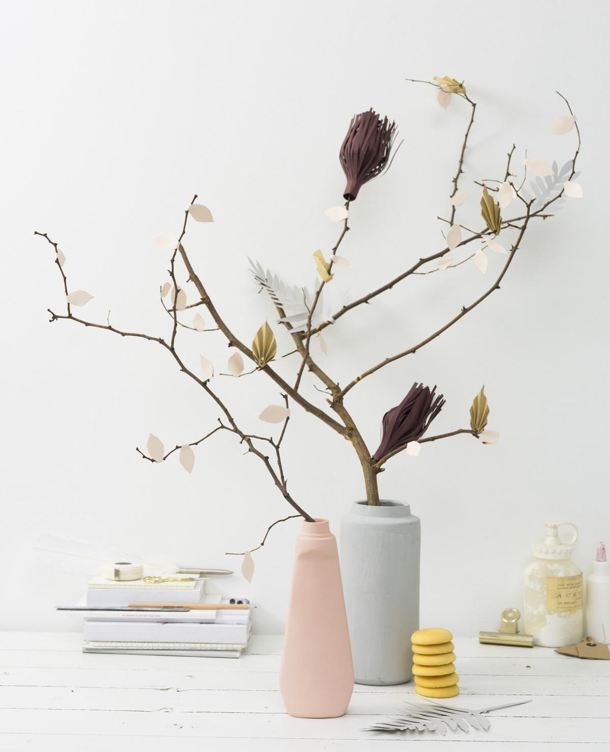 DIY paper flower branches