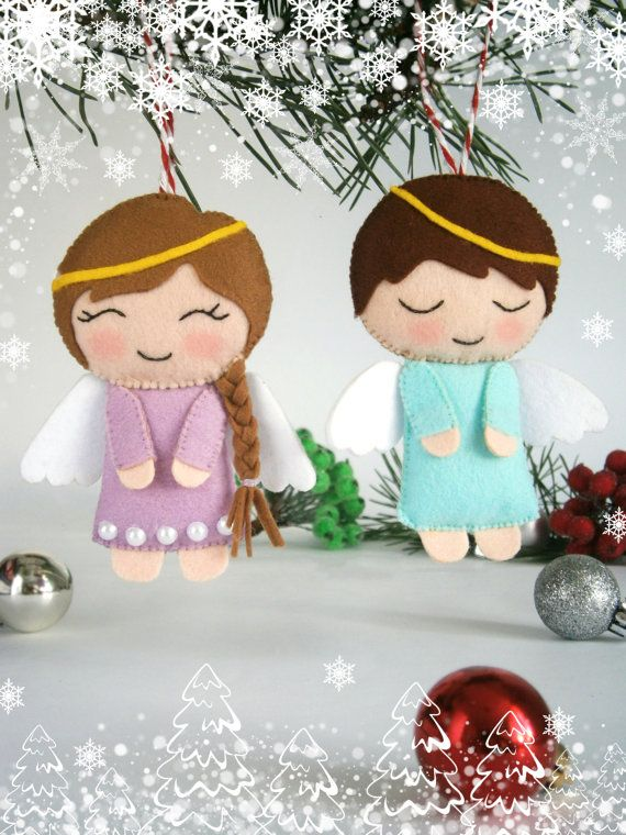 Christmas Ornaments felt Christmas ornament Angel Set of 2 angels
