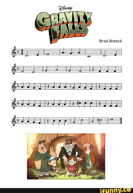 Pin By Sarah On Tv And Movie Gravity Falls Clarinet Sheet Music