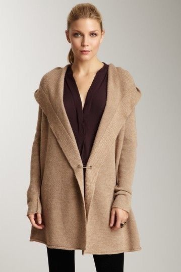 Vince Solid Sophie Cardigan Hooded Sweater Coat With Pin