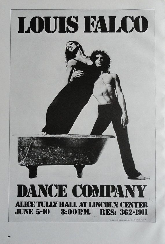 Vintage dance poster louis falco dance company lincoln center national ballet of cuba black and white print jack rennert usa