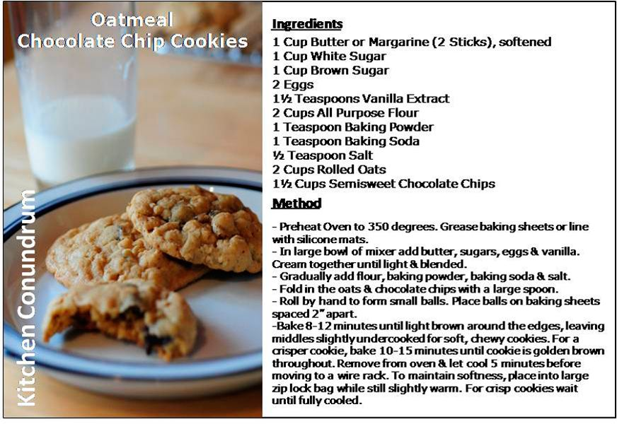 Almost Healthy Chocolate Chip Oatmeal Cookies Recipe