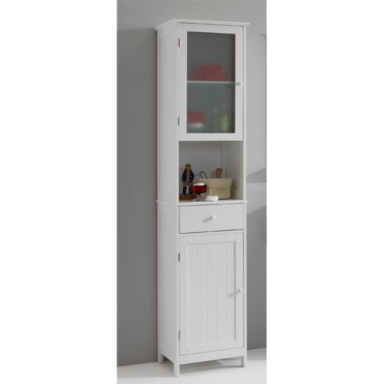 Sweden1 free standing tall bathroom cabinet in white for - Tall bathroom storage cabinets with doors ...