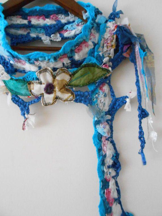 Chic Scarf, Boho Scarf, Gypsy Scarf, Hippie Scarf, Crochet Scarf ...