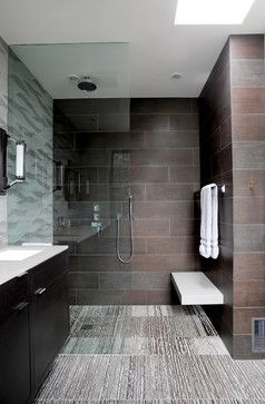 Contemporary Bathroom With Curbless Shower Floor Floating Bench Vanity Mounted To A Tiled Wall And Full Height Fixed Gl Screen Recessed