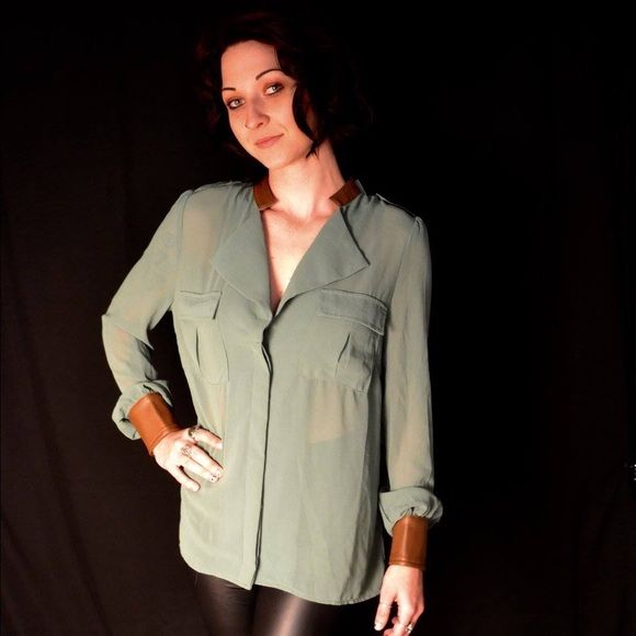 Green blouse Sheer green blouse with faux leather cuffs and collar Bellezza Tops Blouses