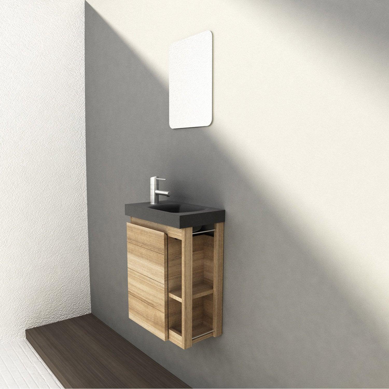 Meuble Lave Mains Avec Miroir Imitation Chene Naturel L 22 5 X P