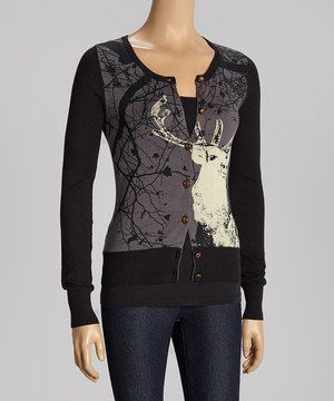 Add a dose of darling design to any ensemble with this charming cardigan. Elegantly twisting tree branches and a high-contrast stag adorn the bodice for a look that's simply stunning!