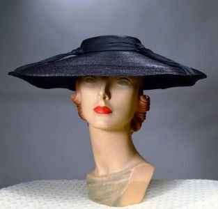 4b610e73 NEW LOOK! - CHIC 1950's VINTAGE WIDE BRIM HAT - AVAILABLE FOR SALE AT  RPVINTAGE.COM