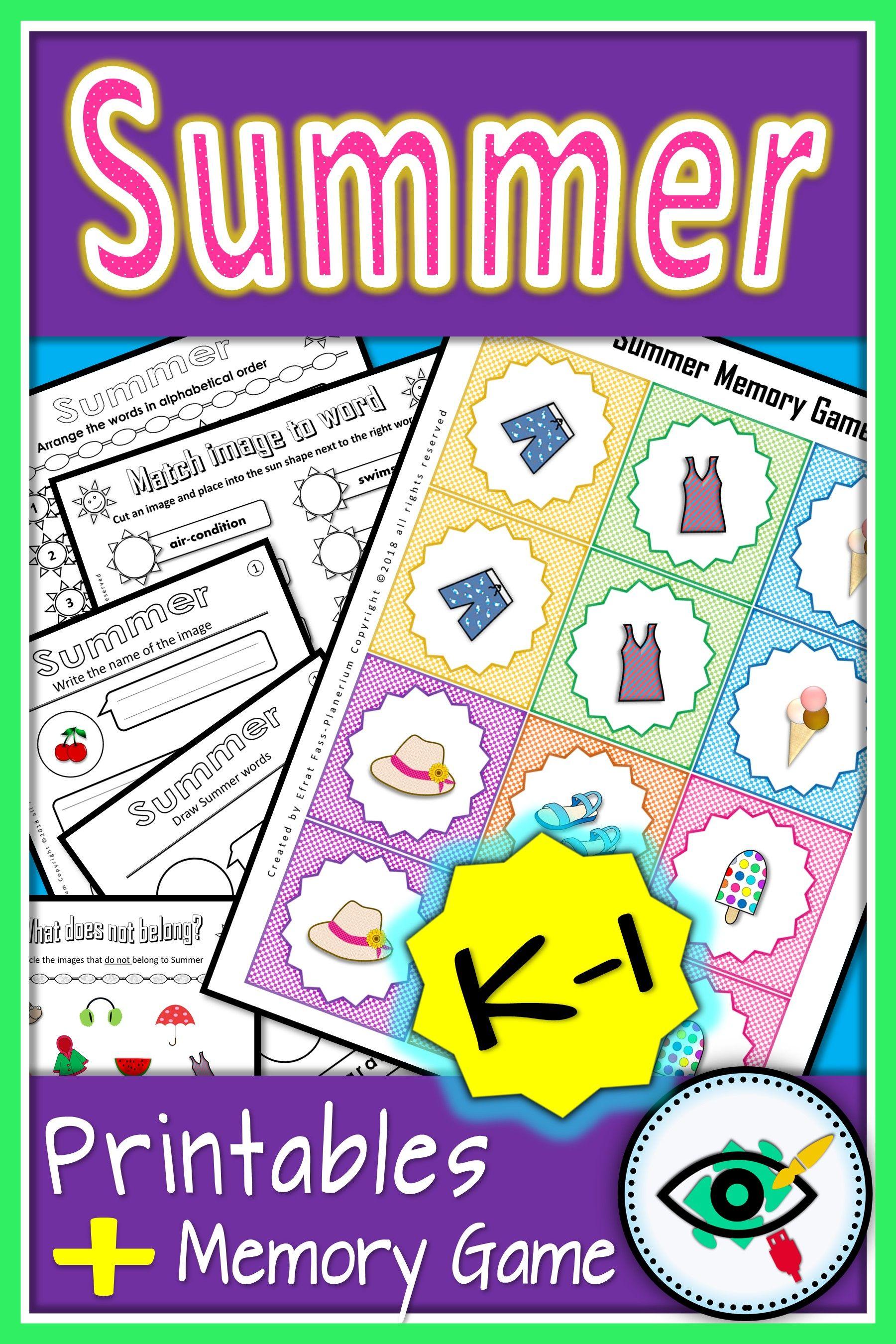 Summer Words Activities Printable