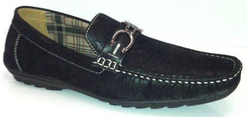 Mens Faux Suede Slip on Driving Moccasin Shoes W/Buckle 4 Colors