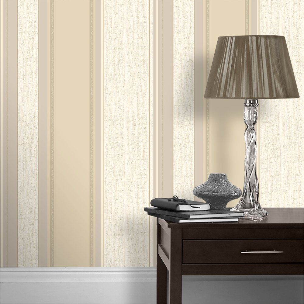 Vymura Synergy Striped Wallpaper Soft Gold / Cream / Beige