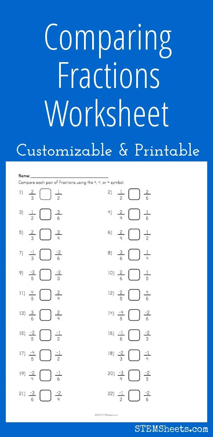 Comparing Fractions Worksheet - Customizable and Printable | Math ...