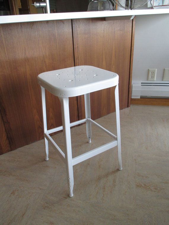 This Vintage Industrial Style Lyon Bar Counter Stool Metal White Custom Vintage Industrial Style Industrial Style Metal Bar Stools