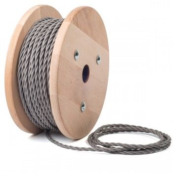 GOOD SITE FOR LAMP PARTS Fabric cable in FERRO GREY   Twisted Lighting Flex - Cablelovers